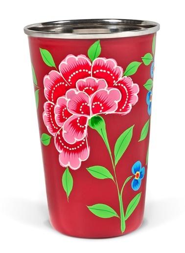 Çiçekli Kırmızı Bardak-3rd Culture